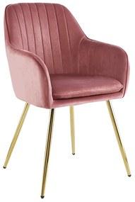 Dizajnové kreslo, ružová Velvet látka/gold chróm-zlatý, ADLAM