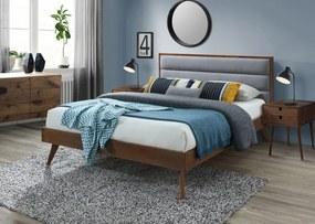 HALMAR Orlando 160 manželská posteľ s roštom orech / sivá