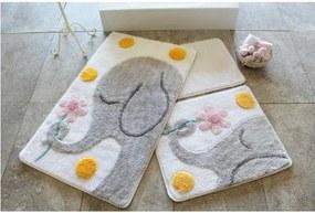 Sada 3 kúpeľňových predložiek Buyuk Fil Grey