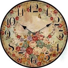 Drevené nástenné hodiny s motívom vintage kvetín 29 cm