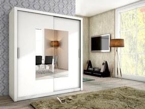 MEBLINE Elegantná šatníková skriňa ALFA 180 so zrkadlom Biely mat