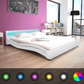 vidaXL Rám postele s LED svetlom, 160x200 cm, umelá koža, biely