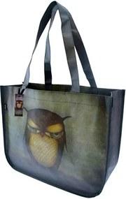 Santoro London - Nákupná taška - Grumpy Owl Hnědá;Zelená