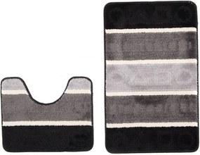Kúpeľňové predložky Tvary sivé 2 ks, Velikosti 50x80cm