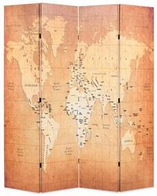 vidaXL Skladací paraván 160x170 cm, potlač mapy sveta, žltý