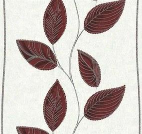 Vliesové tapety, listy červené, Easy Wall 1338620, P+S International, rozmer 10,05 m x 0,53 m