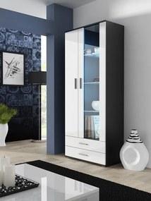 CAMA MEBLE Soho S6 vitrína čierna / biely lesk