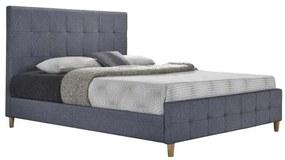 TEMPO KONDELA Balder New 180 čalúnená manželská posteľ s roštom sivá / prírodná