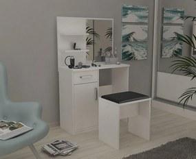 Zostava taburetka + toaletný stolík so zrkadlom a policami - Bílá lesklá