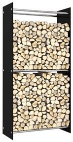 vidaXL Stojan na krbové drevo čierny 80x35x160 cm sklo