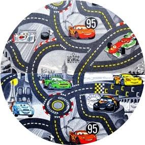 Vopi koberce Kusový koberec The World of Cars 97 šedý kulatý - 120x120 (průměr) kruh cm