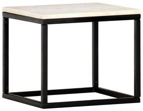 vidaXL Konferenčný stolík biely 40x40x35 cm pravý kameň s mramorovou textúrou