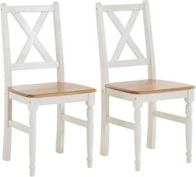 Sada 2 bielych jedálenských stoličiek s prírodným sedákom z masívneho borovicového dreva Støraa Normann