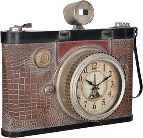 [en.casa]® Nástenné hodiny v tvare starého fotoaparátu - analógové - 43 x 14 x 34 cm – farebné - sklo