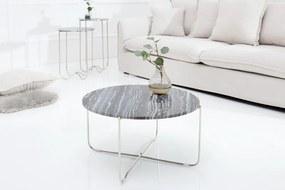 Konferenčný stolík - ušľachtilý šedý mramor, strieborný rám