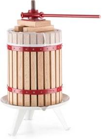 oneConcept Berrymore XXL, lis na ovocie, lis na vytláčanie šťavy, 18 l, mechanický, račňový mechanizmus, oceľ, drevo