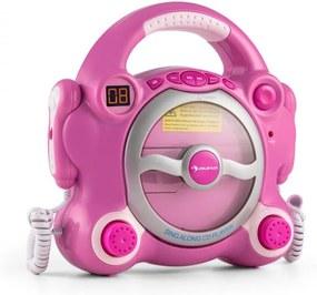 Auna Pocket Rocker, ružový, karaoke systém s CD prehrávačom, Sing A Long, 2 mikrofóny, batérie