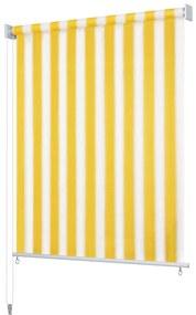 vidaXL Vonkajšia zatemňovacia roleta, 300x140 cm, žlté a biele pásiky