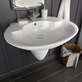 vidaXL Nástenné umývadlo biele 690x520x210 cm keramické