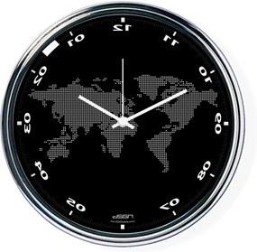 Čierne zvisle zrkadlené hodiny s mapou