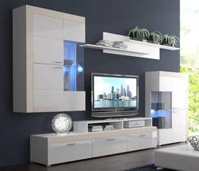 Pablo - Obývacia stena (biela, korpus/biela lesk/béžové detaily