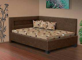 Nabytekmorava Čalúnená posteľ s úložným priestorom Mia Robin 120 matrac: matrace Orthopedy Maxi 19 cm, farba čalúnenie: hnědá, úložný priestor: bez úložného priestoru