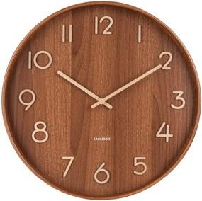 Hnedé nástenné hodiny z lipového dreva Karlsson Pure Medium, ø 40 cm
