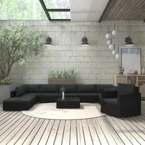 vidaXL 11-dielna záhradná sedacia súprava+podložky, polyratan, čierna