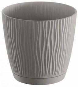 PROSPERPLAST SANDY P Kvetináč s miskou 18,8 cm, šedý kameň DSY190P
