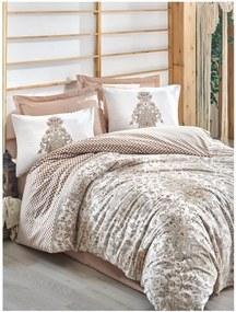 Obliečky s plachtou z ranforce bavlny na dvojlôžko Tamara Beige, 200 x 220 cm