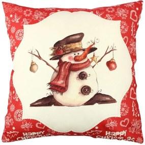 Vankúš Snowman Red&White, 43 × 43 cm