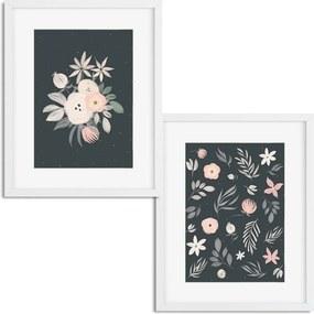Séria 2 rámovaných obrazov 43x53 cm - Ružové kvety