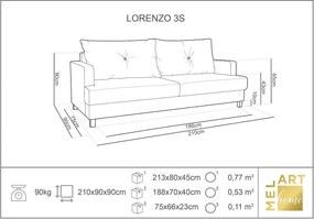 MELART Trojmiestna rozkladacia pohovka s úložným priestorom Lorenzo