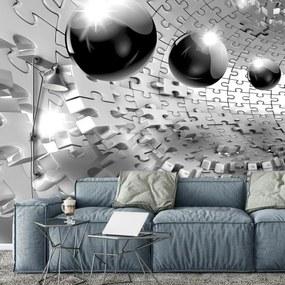 Fototapeta - 3D guľa v šedej farbe (152,5x104 cm), 10 ďalších rozmerov
