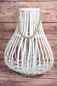 Prútený lampáš s úchytkou - biely (v. 50 cm) - moderný štýl