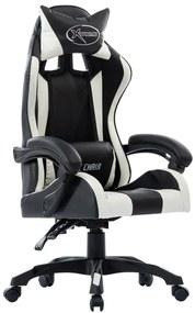 vidaXL Herná stolička, biela, umelá koža