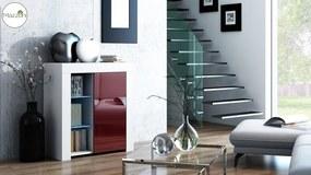 Mazzoni MILA 1D LED skrinka biela / burgund, obývacia izba