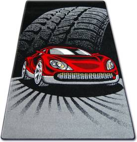 3kraft Detský koberec HAPPY Car čierno-červený