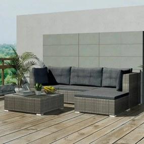 vidaXL 14-dielna záhradná polyratanová sedacia súprava, šedá