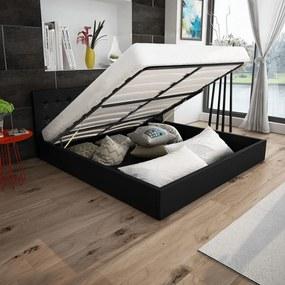 vidaXL Rám postele s výklopným roštom, umelá koža, 160x200 cm, čierny