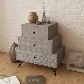 vidaXL Nočný stolík s 3 zásuvkami, sivý