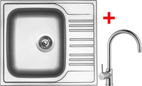 Set Sinks STAR 580 V matný + batéria VITALIA Chróm