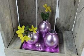 Fialová dekoračná tácka s pripevnenými vázami