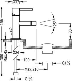 MAX-TRES Bidetová jednopáková batéria (06212001D)