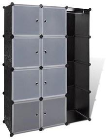 Modulárna skriňa s priehradkami čierno-biela 37 x 115 150 cm
