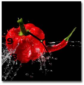 Sklenené hodiny štvorec Červené papriky pl_zsk_30x30_f_14662638