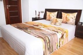 DomTextilu Prehoz na posteľ bielej farby s motívom hnedých kvetov Šírka: 220 cm | Dĺžka: 240 cm 2944-103344