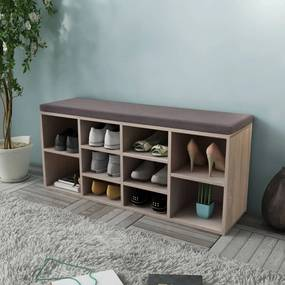 Lavica s 10 priečinkami na topánky vo farbe dubového dreva