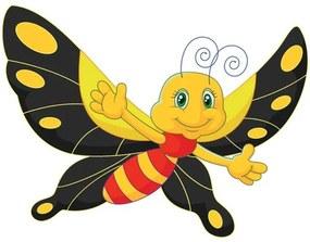 Nálepka na stenu pre deti Motýlik s čiernymi krídlami 10x10cm NK4349A_1HP