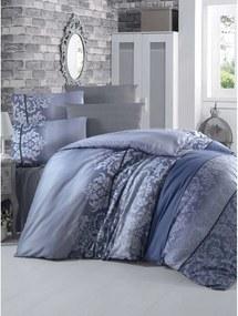 Modré obliečky s plachtou na jednolôžko Oyku, 160 × 220 cm